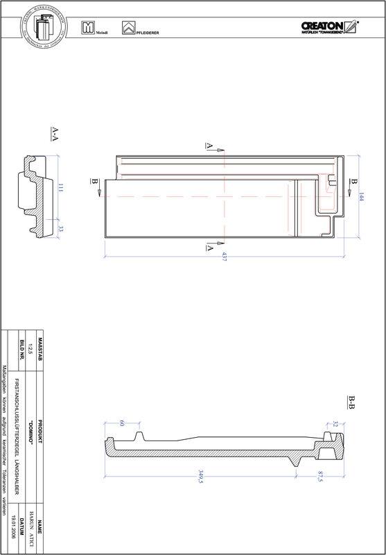 CAD datoteka izdelka DOMINO slemenski priključni zračnik dvovalovnik FALLH
