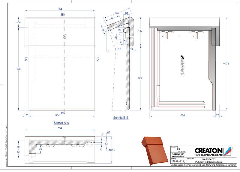 CAD datoteka izdelka KAPSTADT betonski strešniki za enokapno streho, krajnik levi PultOGL