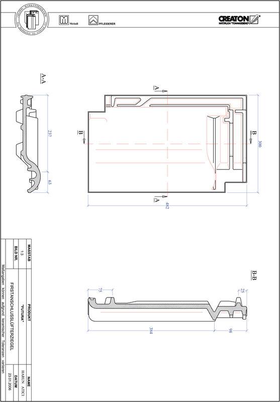 CAD datoteka izdelka DOMINO slemenski priključni zračnik FALZ