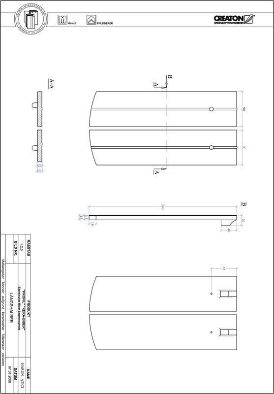 CAD datoteka izdelka PROFIL segmentna oblika KERA-SAECHS-18-CM-LH