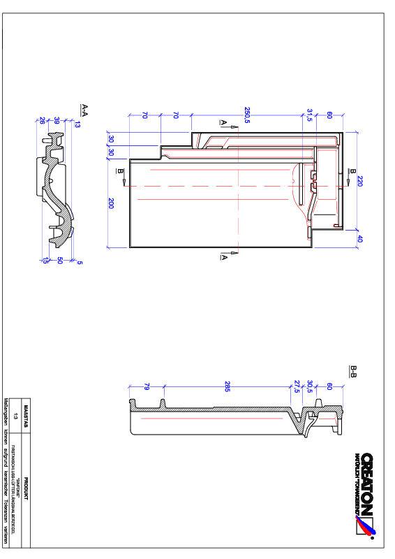CAD datoteka izdelka SINFONIE slemenski priključni zračnik polovička FALLH