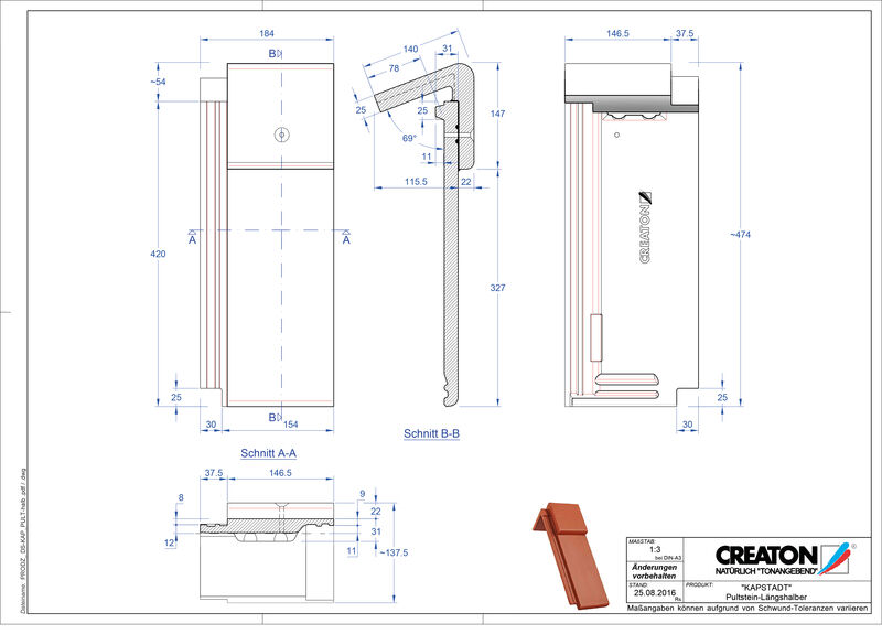 CAD datoteka izdelka KAPSTADT betonski strešniki za enokapno streho Pult-halb