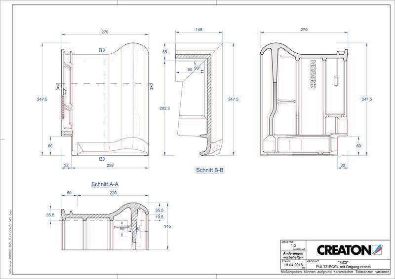 CAD datoteka izdelka MZ3 NEU strešnik za enokapno streho, krajnik desni PULTOGR