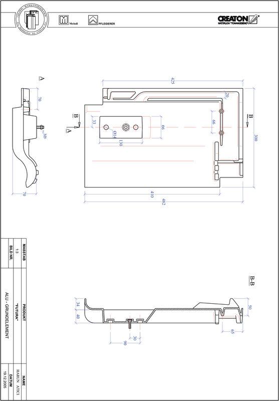 CAD datoteka izdelka FUTURA osnova, aluminij GRUNDALU