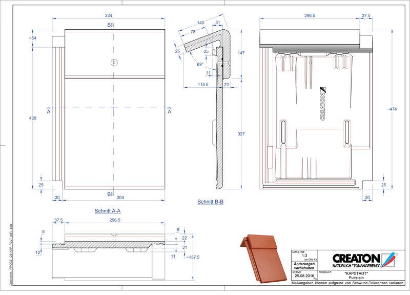 CAD datoteka izdelka KAPSTADT betonski strešniki za enokapno streho PULTSTEIN