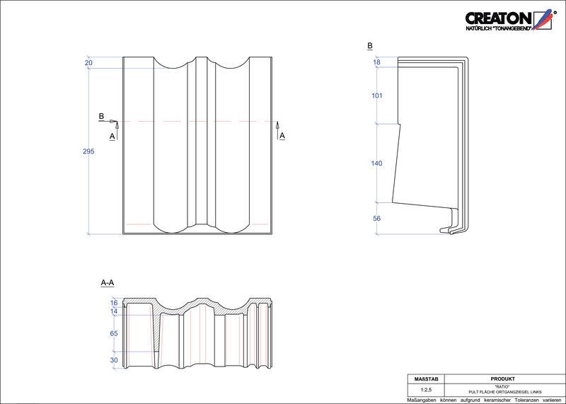 CAD datoteka izdelka RATIO  strešnik za enokapno streho, krajnik levi PULTOGL