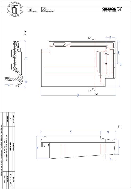 CAD datoteka izdelka FUTURA slemenski priključni zračnik desni FALOGR