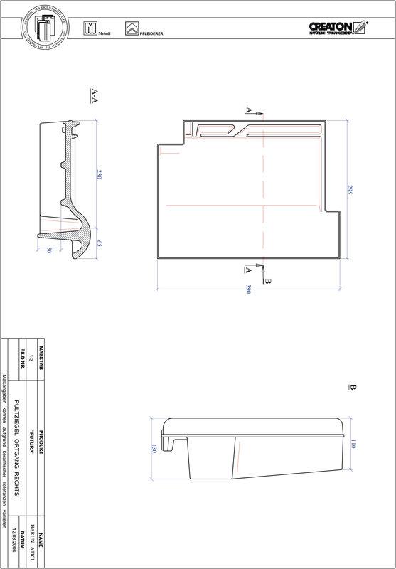 CAD datoteka izdelka FUTURA strešnik za enokapno streho, krajnik desni PULTOGR