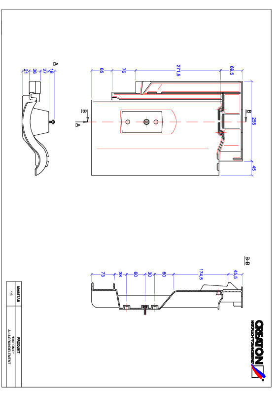 CAD datoteka izdelka SINFONIE osnova, aluminij GRUNDALU