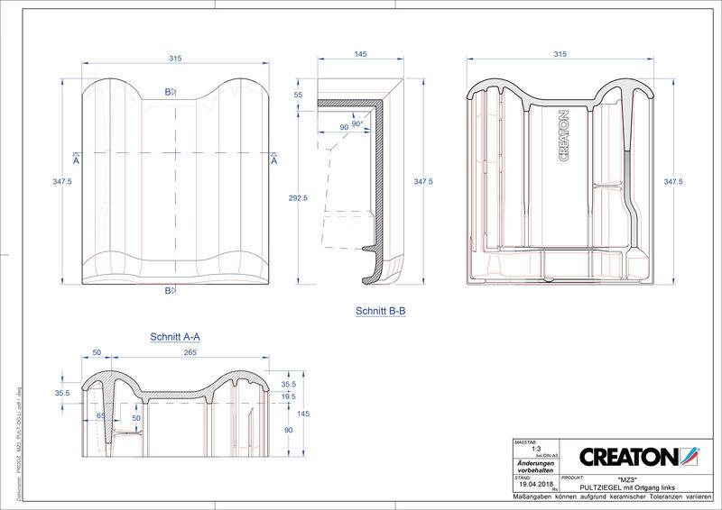 CAD datoteka izdelka MZ3 NEU strešnik za enokapno streho, krajnik levi PULTOGL