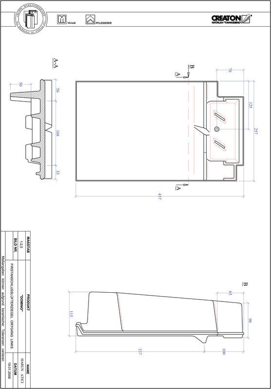 CAD datoteka izdelka DOMINO slemenski priključni zračnik levi FALOGL