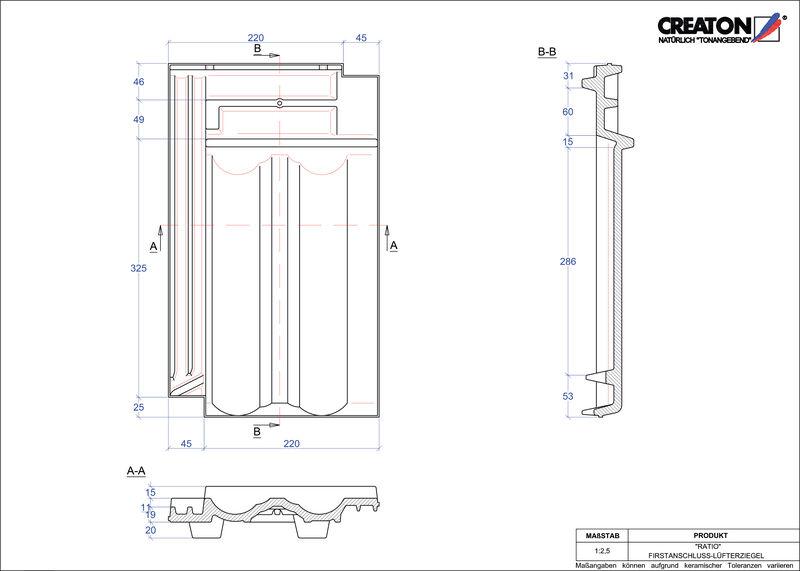 CAD datoteka izdelka RATIO  slemenski priključni zračnik FALZ