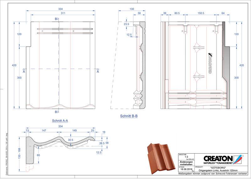CAD datoteka izdelka GÖTEBOR betonski strešniki za enokapno streho, krajnik levi PultOGL-120