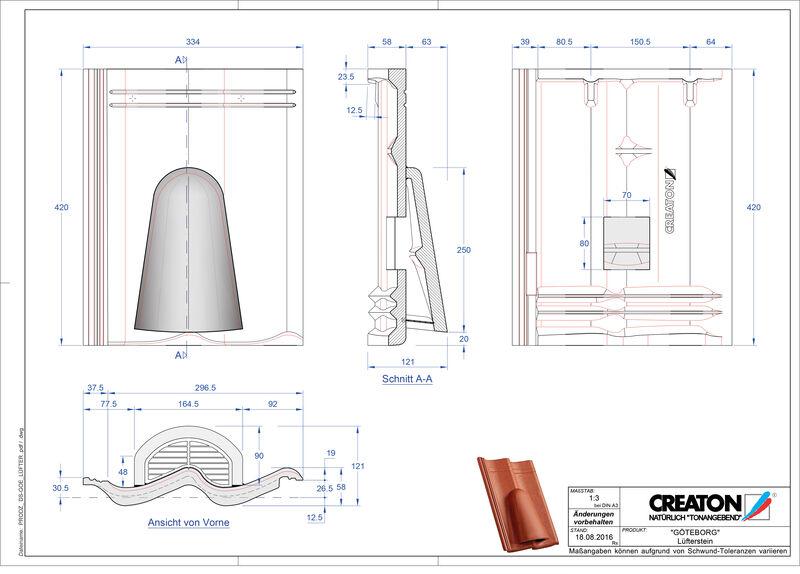 CAD datoteka izdelka GÖTEBORG betonski slemenski zračnik Luefterstein