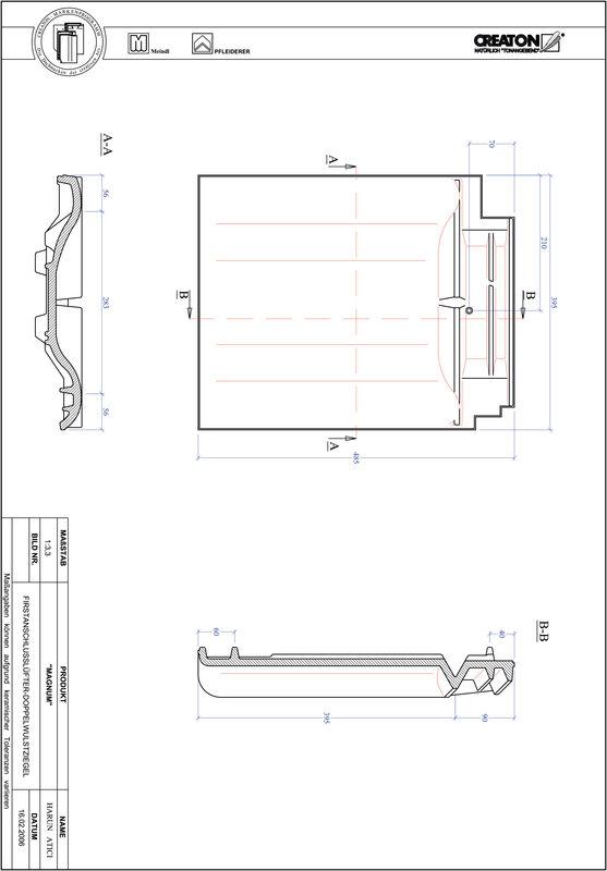 CAD datoteka izdelka MAGNUM slemenski priključni zračnik dvovalovnik FALDWZ
