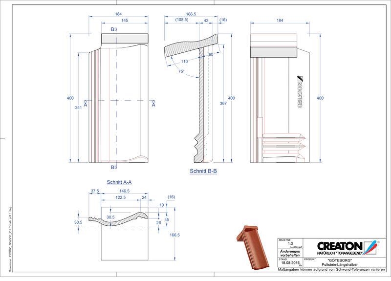 CAD datoteka izdelka GÖTEBORG betonski strešniki za enokapno streho Pult-halb