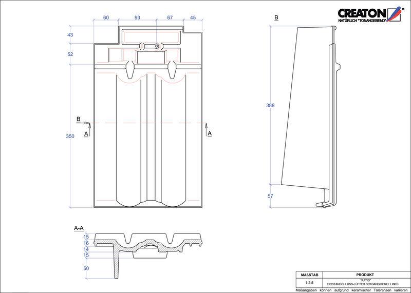 CAD datoteka izdelka RATIO slemenski priključni zračnik levi FALOGL