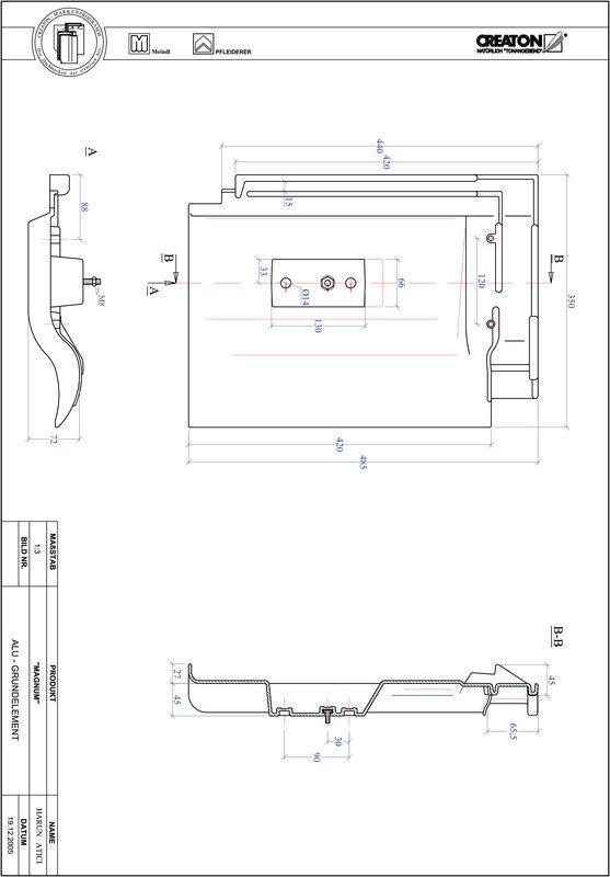 CAD datoteka izdelka MAGNUM osnova, aluminij GRUNDALU