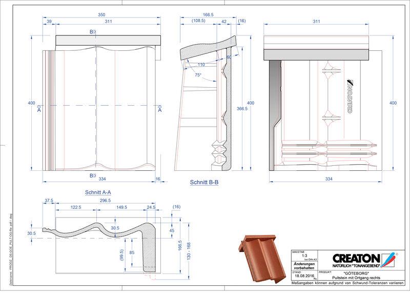 CAD datoteka izdelka GÖTEBORG betonski strešniki za enokapno streho, krajnik desni PultOGR