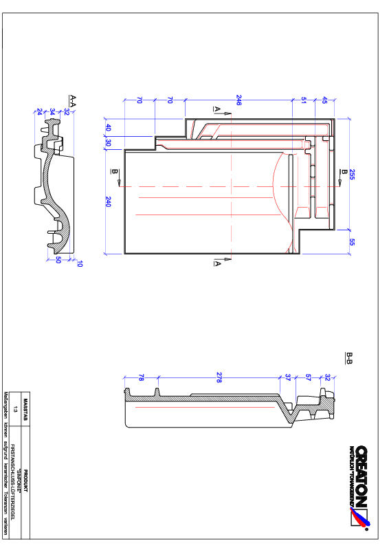 CAD datoteka izdelka SINFONIE  slemenski priključni zračnik FALZ