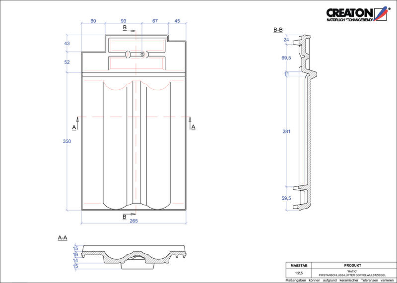 CAD datoteka izdelka RATIO slemenski priključni zračnik dvovalovnik FALDWZ