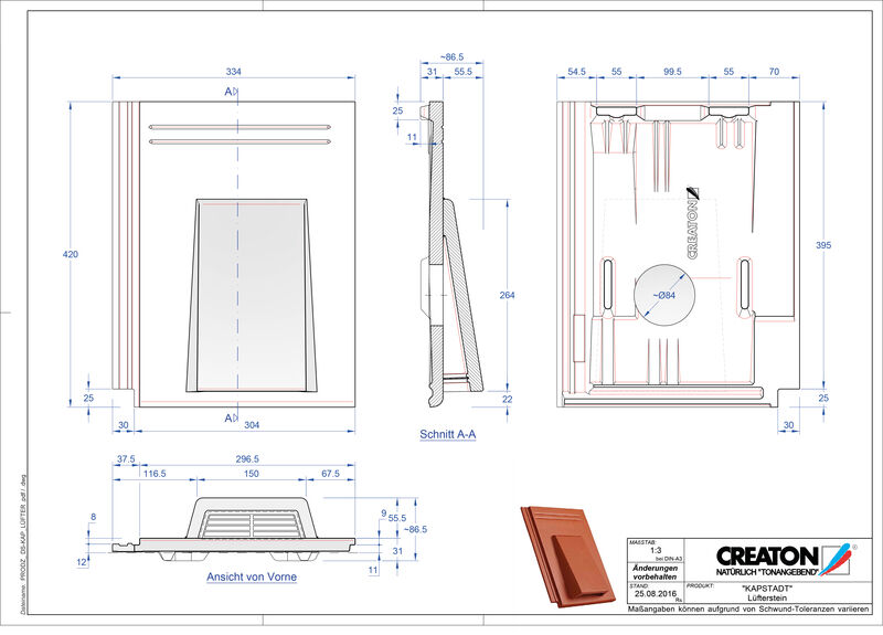 CAD datoteka izdelka KAPSTADT betonski slemenski zračnik Luefterstein
