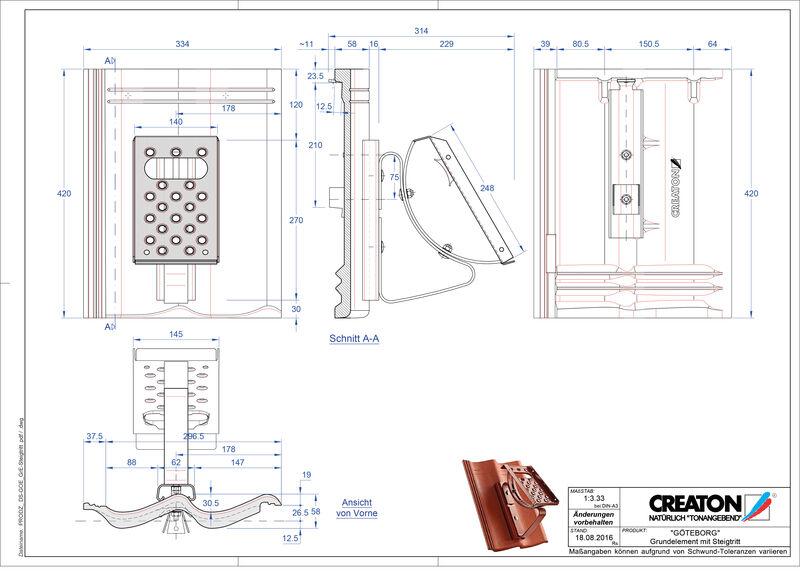 CAD datoteka izdelka GÖTEBORG osnova, aluminij Steigtritt