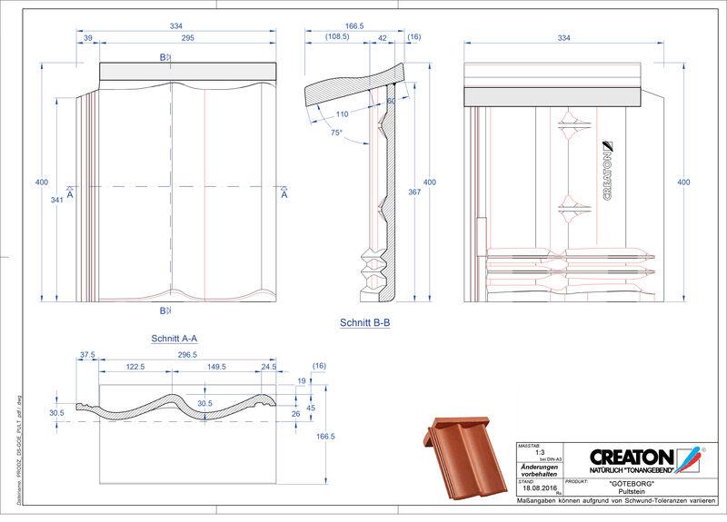 CAD datoteka izdelka GÖTEBORG betonski strešniki za enokapno streho PULTSTEIN