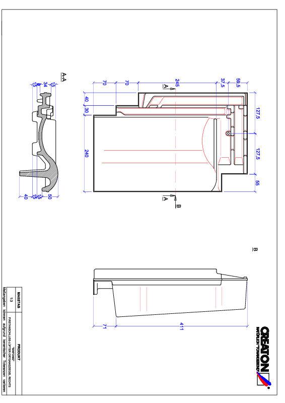 CAD datoteka izdelka SINFONIE slemenski priključni zračnik desni FALOGR