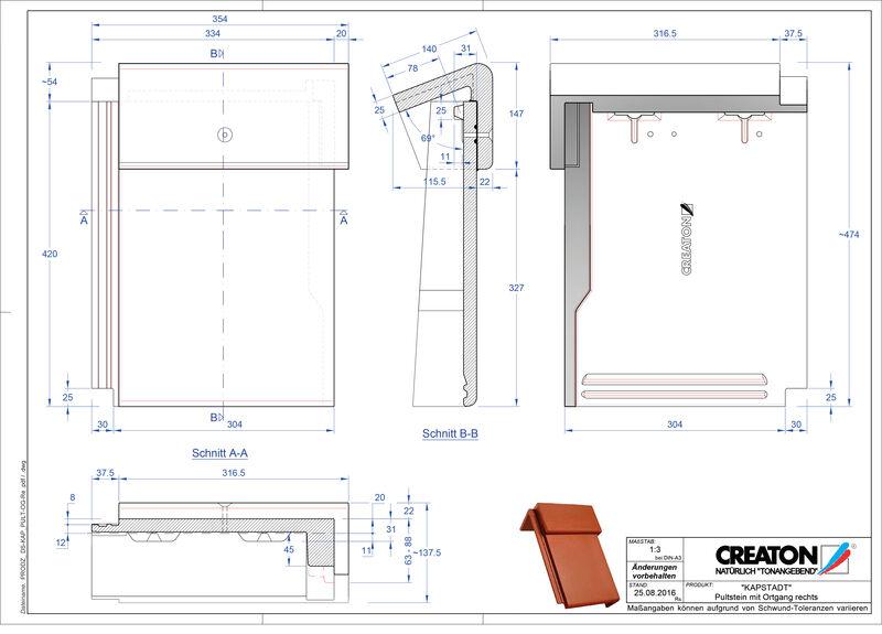 CAD datoteka izdelka KAPSTADT betonski strešniki za enokapno streho, krajnik desni PultOGR