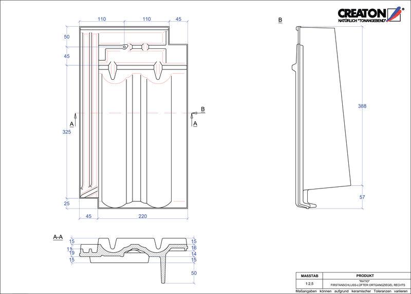 CAD datoteka izdelka RATIO slemenski priključni zračnik desni FALOGR