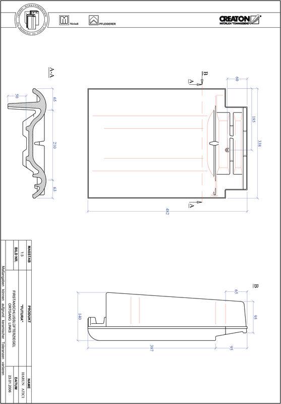 CAD datoteka izdelka FUTURA slemenski priključni zračnik levi FALOGL