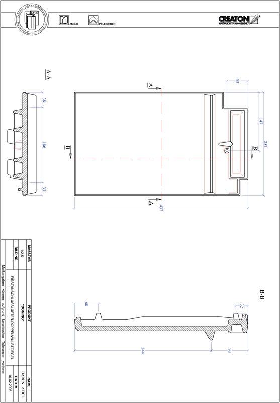 CAD datoteka izdelka DOMINO slemenski priključni zračnik dvovalovnik FALDWZ