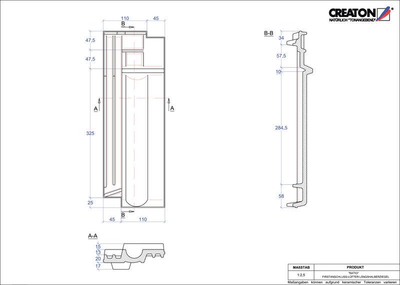 CAD datoteka izdelka RATIO slemenski priključni zračnik polovička FALLH
