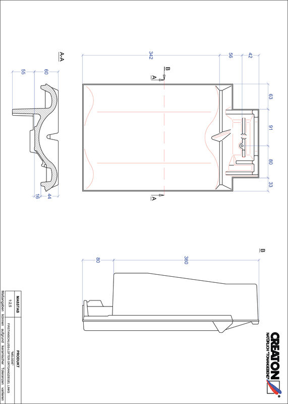 CAD datoteka izdelka MELODIE slemenski priključni zračnik levi FALOGL