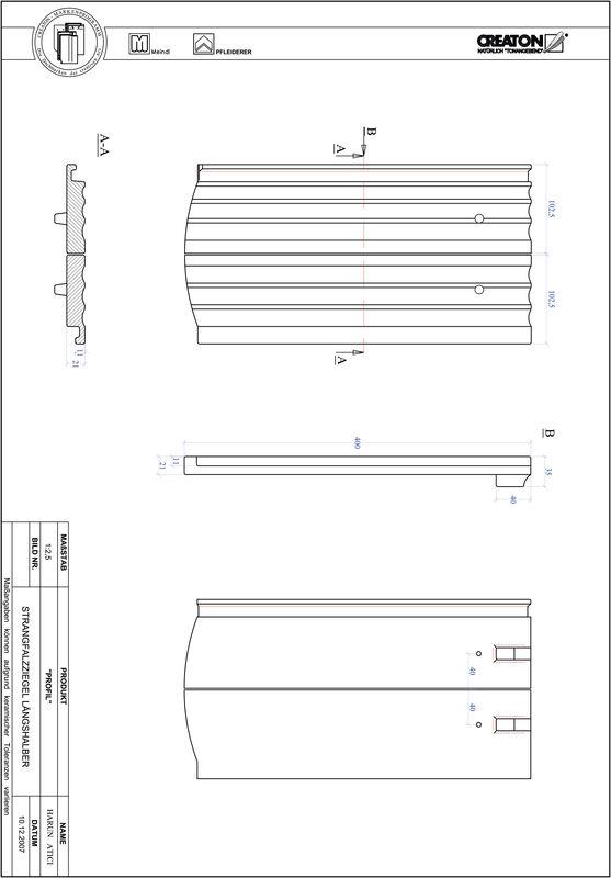 CAD datoteka izdelka PROFIL segmentna oblika STRANGFALZ-GEWELLT-LH