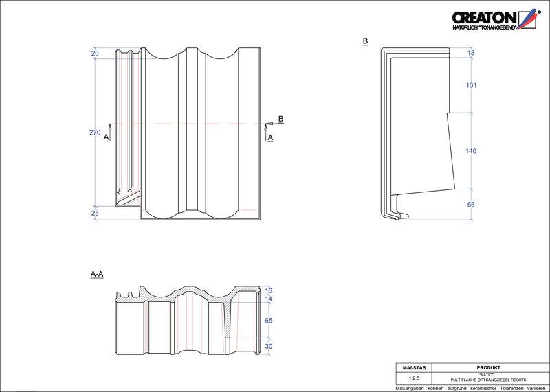 CAD datoteka izdelka RATIO  strešnik za enokapno streho, krajnik desni PULTOGR