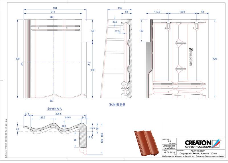 CAD datoteka izdelka GÖTEBORG betonski strešniki za enokapno streho, krajnik desni PultOGR-120