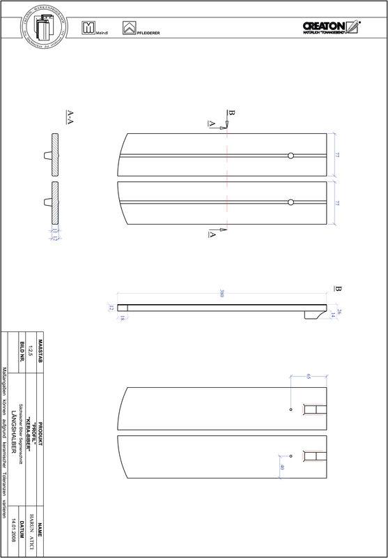 CAD datoteka izdelka PROFIL segmentna oblika KERA-SAECHS-15-CM-LH