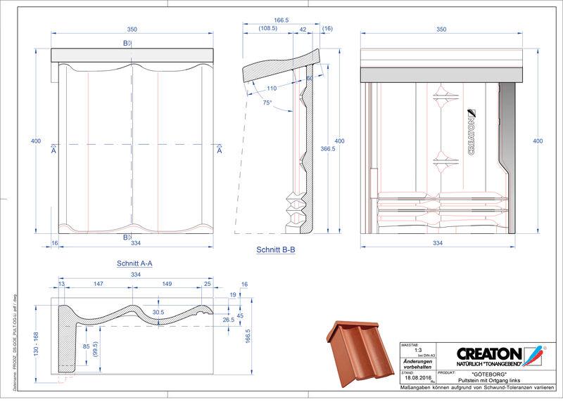 CAD datoteka izdelka GÖTEBOR betonski strešniki za enokapno streho, krajnik levi PultOGL