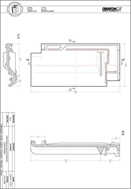 CAD datoteka izdelka FUTURA slemenski priključni zračnik dvovalovnik FALLH