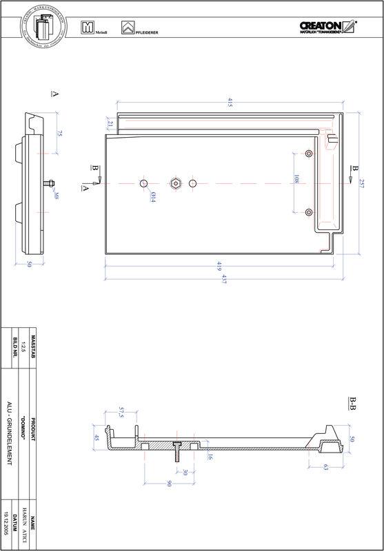 CAD datoteka izdelka DOMINO osnova, aluminij GRUNDALU