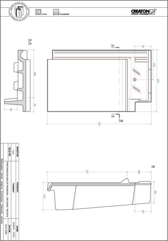 CAD datoteka izdelka DOMINO slemenski priključni zračnik desni FALOGR