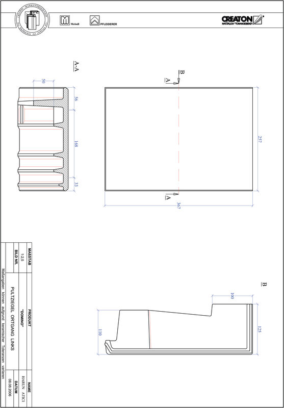 CAD datoteka izdelka DOMINO strešnik za enokapno streho, krajnik levi PULTOGL